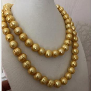 """gorgeous 11-12mm south sea gold pearl necklace 36inch 50"""""""