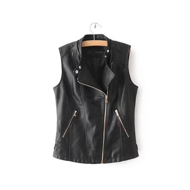 Free shipping European style solid color stitching casual women O-neck zipper pocket Slim wild sleeveless vest coat