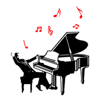 New arrival piano 3d Acrylic Wall Sticker Children's room Music and dance classroom Background wall decoration DIY art decor