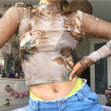 Zogaa 2019 Spring Cupid Print Mesh Crop Top Women Kawaii Cute Angel Pattern T Shirt Long Sleeve Mock Neck T Shirt Streetwear mock neck lettuce hem glitter mesh top