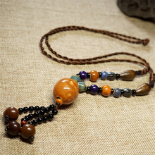 women vintage sweater necklaces DIY weaving brown ceramics choker high end smooth bohemia jewelry accessories girl