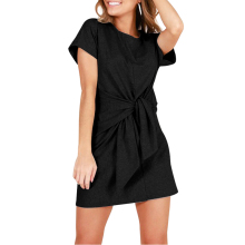 1e40708535c miss moly Lace Up Front Knot Mini Women Solid Black Gray Red Short Sleeve  Beach Dress