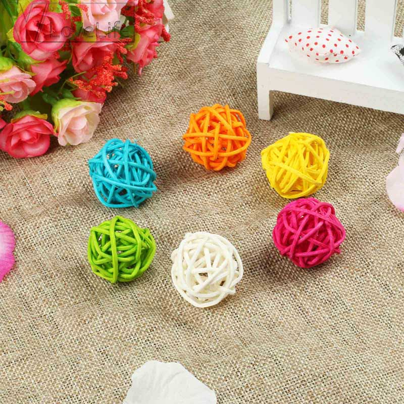 30pcs 3cm Round Sepak Takraw Colorful Birthday Wedding Party Rattan Ball Valentines Day Decoration DIY Rattan Ornament