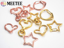 Meetee 10pcs Various Metal Key Chain O D Ring Buckle Shackles Star Heart Shape DIY Bag Hardware Accessories Decoration BF020