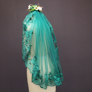 Image 2 - New 0.9 Meters One Layer Lace Edge Green Tulle Wedding Veil With Comb
