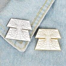 Trampa de visión geométrica para niños, broche de telaraña, color dorado y blanco, para Educación de matemáticas, ciencia, dibujos animados, bolsa colgante