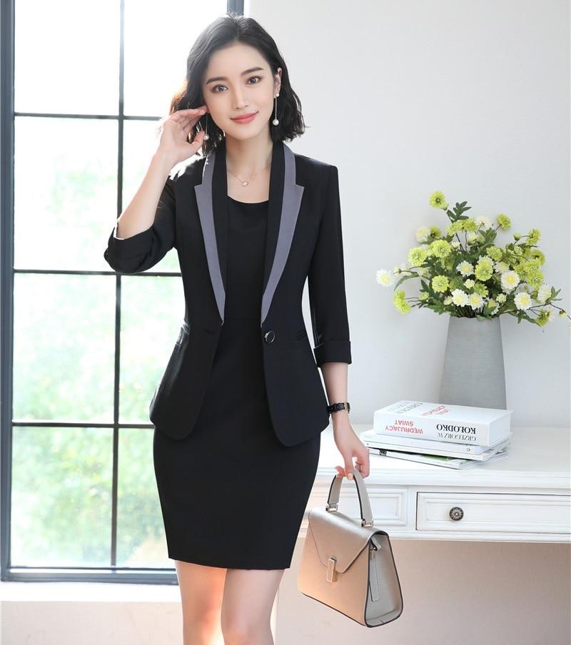 Styles Wear Noir De Blazer Blanc Et Bureau Uniforme Veste Ensembles gris Les Dames Costumes Mode blanc Robe Femmes Work D'affaires Pour Twqgp6p
