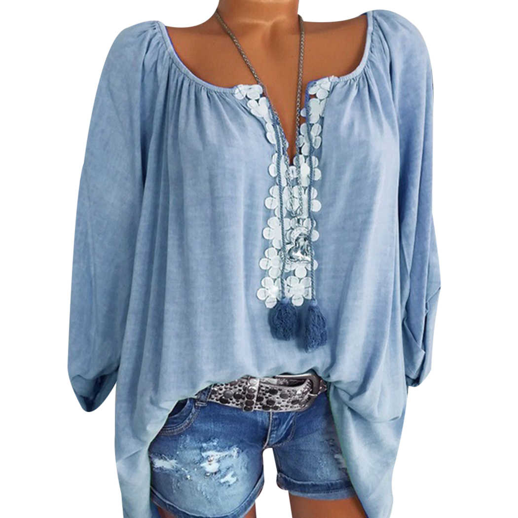 dd3387b9d10 4XL Plus Size Womens Tops And Blouses Fashion Off Shoulder Lace Floral  Loose Ladies Shirts V