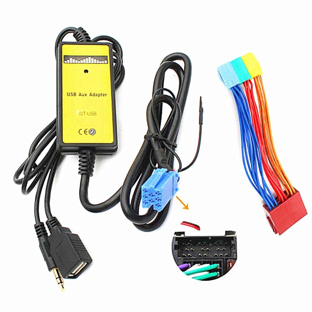 2018 auto CD MP3 Usb-schnittstelle Adapter AUX für Audi A2 A4 A6 S6 A8 TT S4 S8 mit Mini ISO 8 P blau stecker Top Verkauf
