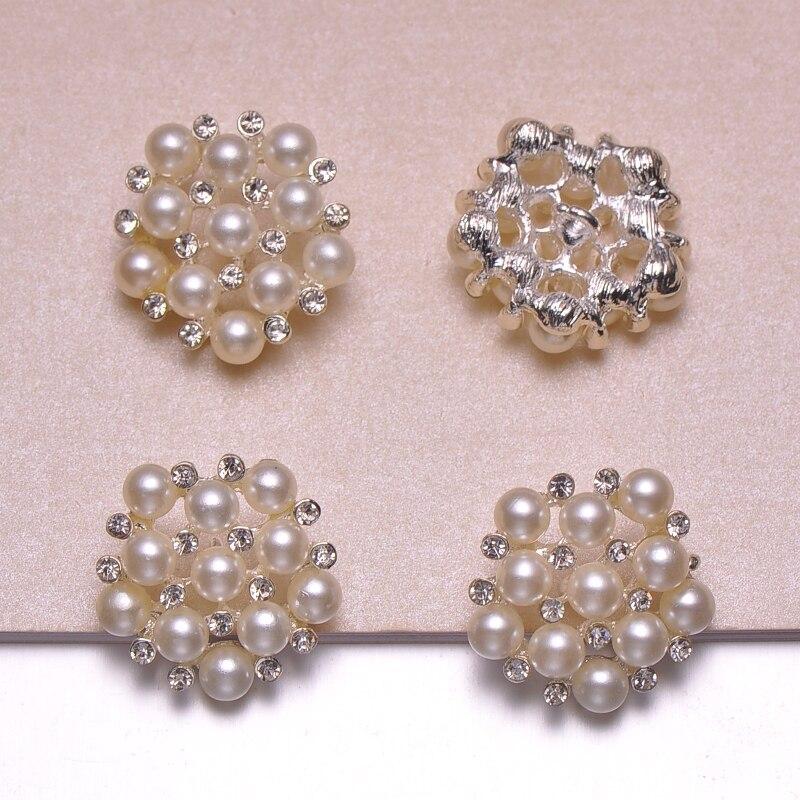 J0321 25mm diameter elegant rhinestone metal button with loop pearl crystals ivory pearl 100pcs lot