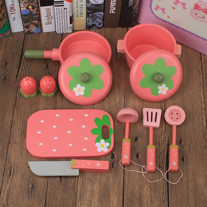 Baby Toys Simulation Pots Set 9Pcs Kitchen Accessories Wooden Toys Cookware Child Educational Furniture Early Play