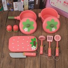 Детские игрушки, набор горшков для моделирования, 9 шт., кухонные аксессуары, деревянные игрушки, кухонная посуда, обучающая мебель для детей, для раннего воспроизведения, подарок на день рождения