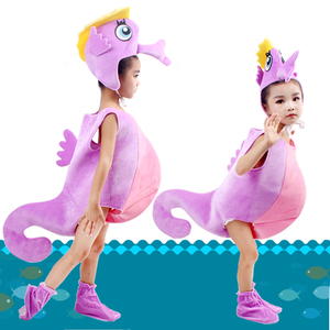Image 4 - Children kid blue purple orange hippocampus sea horse costume Halloween party cosplay animal costume clothes for boy girl
