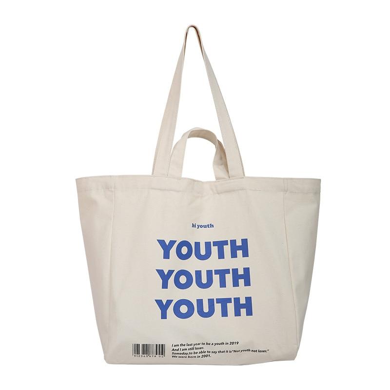 Women Canvas Shopping Bag YOUTH Letters Print Female Cotton Cloth Shoulder Bag Eco Handbag Tote Reusable Grocery Shopper Bags