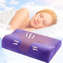 Almohada de espuma de memoria con sólido terciopelo funda de almohada adultos cuello-protección para dormitorio Cervical salud mejorar suave dormir