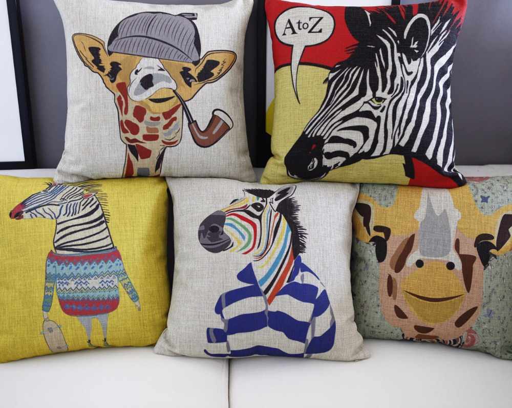 Cartoon Animal Pillow ,Creative Zebra Cushion ,Linen Pillowcase,cushion Home Decor Sofa Cushion Decorative Pillows