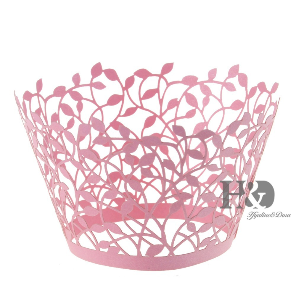 Pink Laser Cut Hollow Out Branches Cake Paper Wrap Cupcake Box ...