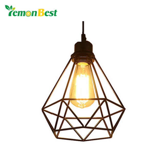 Lemonbest Vintage Diamond Cage Pendant Light Sconce Hanging Droplight Lamp E27 Socket Ac 85