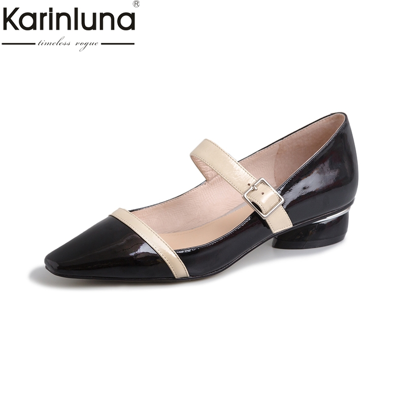 KarinLuna Classics Mature womens Shoes Pointed Toe Genuine Leather Sexy Chunky Heels 2019 Brand New Elegant womens PumpsKarinLuna Classics Mature womens Shoes Pointed Toe Genuine Leather Sexy Chunky Heels 2019 Brand New Elegant womens Pumps