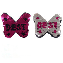 T shirt Women 10cm bow best pink/silver flip the double sided sequins deal with it iron on patches for clothing 3d t shirt mens