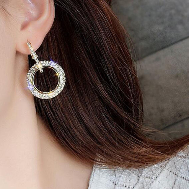 New Design Creative Jewelry High-grade Elegant Crystal Earrings Round Gold and Silver Earrings Wedding Party Earrings for Woman 3