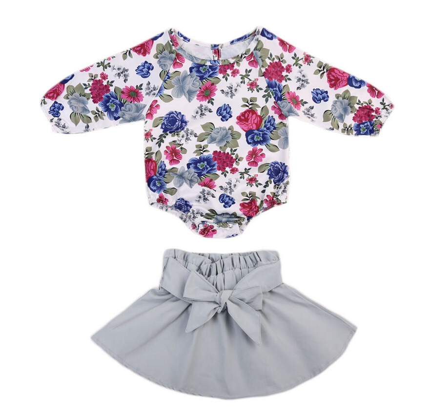 Baby Girl Bodysuits Tops Long Sleeve Skirts Bow Coue Clothing Set 0-24M Casual Toddler Baby Girls Clothes Sets Outfit