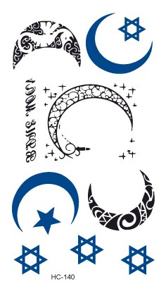 Hc1140 Wodoodporna Tymczasowa Naklejka Tatuaż Nowy Księżyc