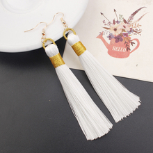 Купить с кэшбэком Tassel Earrings Women Fashion Jewelry 2019 Bohemian Drop Dangle Long Earrings Silk Fabric Ethnic 12 Colors Vintage Earrings