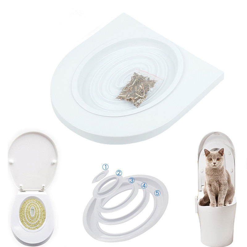 Pet Cat Toilet Training Kit Seat Cat Litter Cleaning Trays Small Cat Potty Train System Training Toilet Tray Pet Supplies