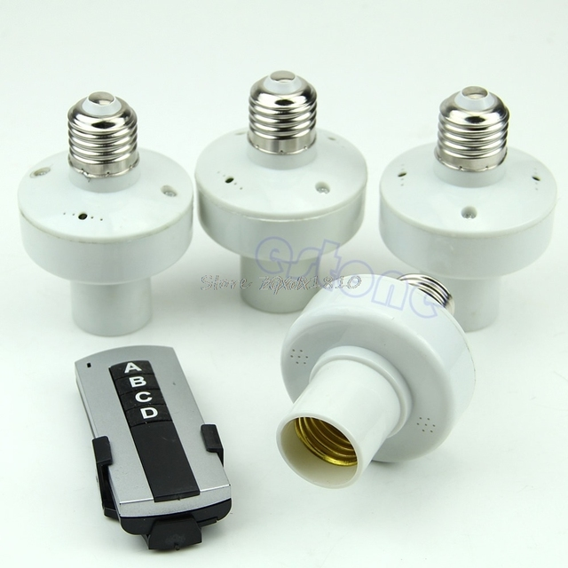4 قطعة التحكم عن بعد اللاسلكية E27 ضوء المصباح الكهربي حامل غطاء المقبس التبديل Whosale و دروبشيب