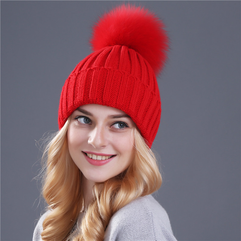 bd8c365cb Xthree mink and fox fur ball cap pom poms winter hat for women girl 's hat  knitted beanies cap brand new thick female cap