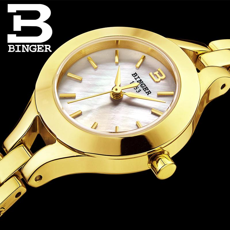 Switzerland Binger Women's watches fashion luxury brand clock quartz sapphire full stainless steel Wristwatches B3035