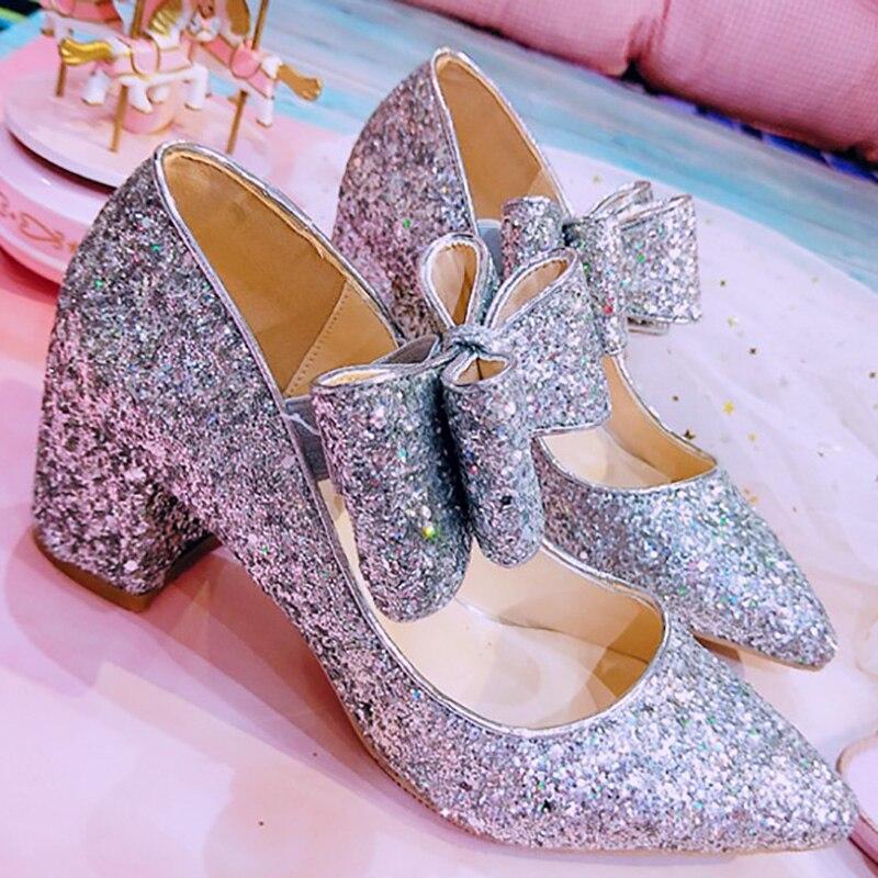 Plata Zapato Día Brillo Damas Silver Janes Boda Regalo Rosa Valentín De Lolita San Heel Heel Moda Las pink Bombas Mujeres Mary Tacones Novia 5cm Zapatos qAawfWPnxY