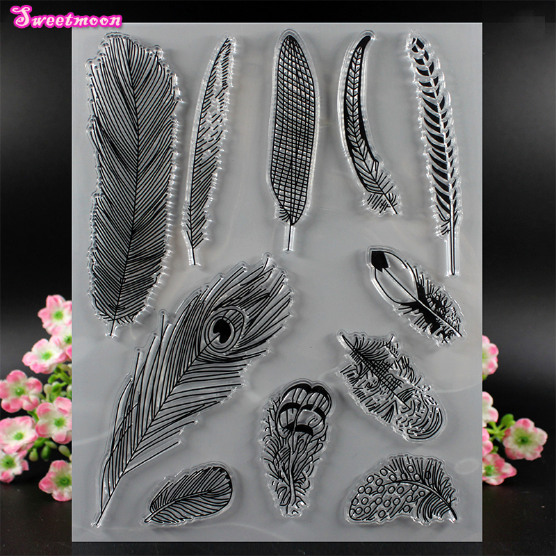Various Feather Clear Stamp Scrapbook Clear Stamp photo cards account rubber stamp Scrapbook Embossing Folder card Stamp thank you my friend you are the best scrapbook clear stamp photo cards account rubber stamp embossing folder card stamp