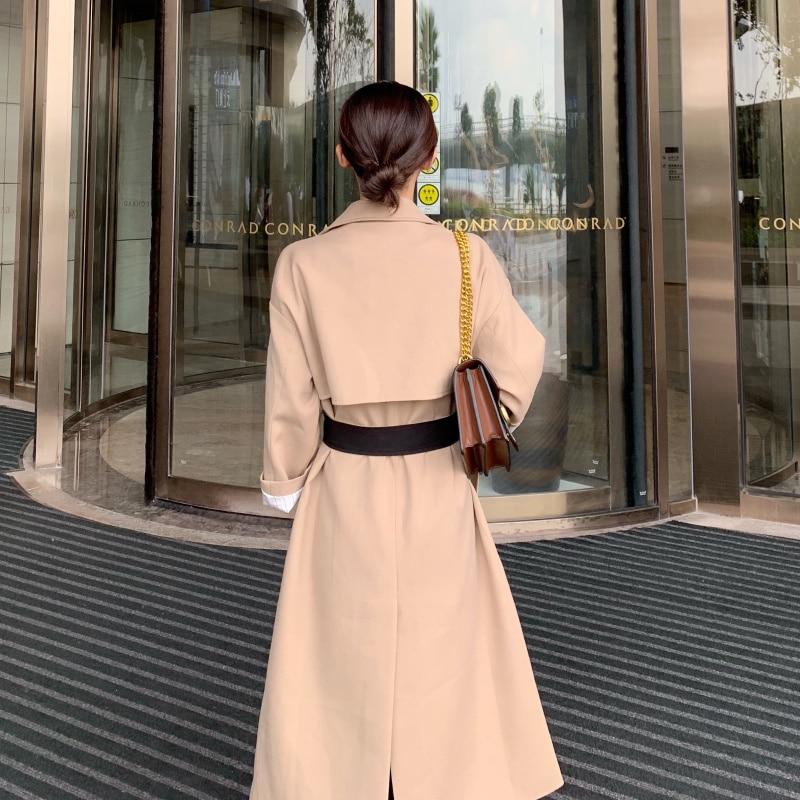 Mode Longue Piste Manteau Double Kaki Coupe Taille Rétro Abricot vent Boutonnage Britannique À Tranchée Élégant Vêtements Style Avec Réglable De x4IBwTq