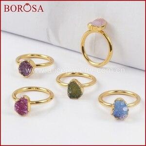 Image 2 - BOROSA צבעים מעורבים אלגנטיים זהב צבע קשת צורה חופשית Druzy טבעות לנשים, אופנה טבעות מפלגה תכשיטי Drusy כמתנה G1450