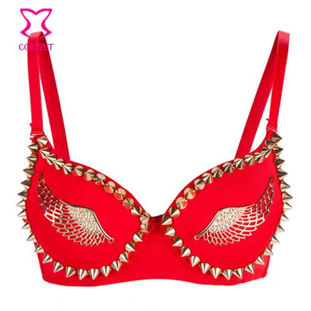 Asas do ouro & Rivet Stud Bra empurrar em cima Bralette Punk delírio Brassiere Bras exótico para as mulheres roupa interior Dancewear Sexy Lingerie