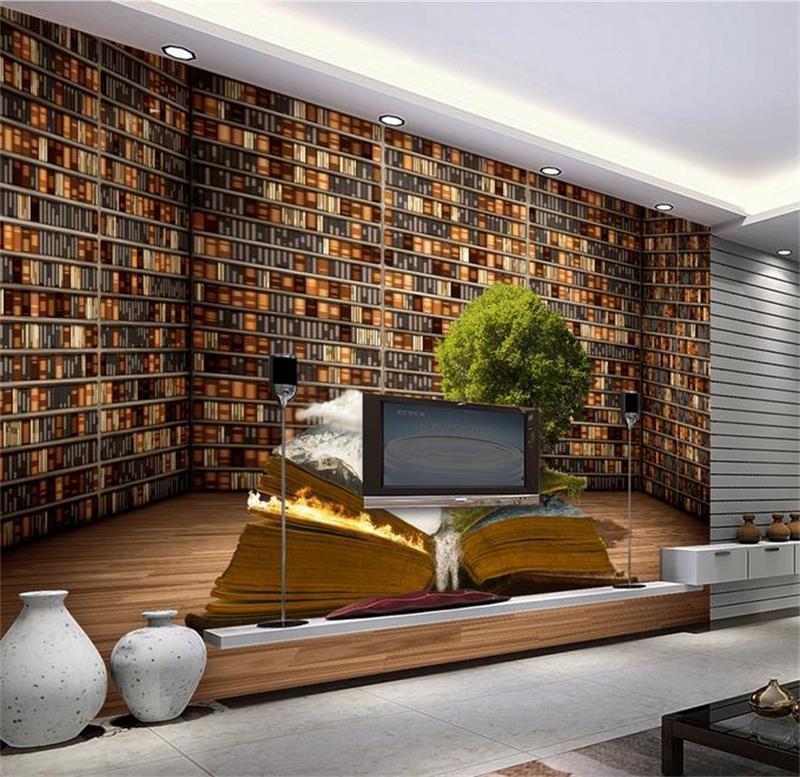 3d foto behang custom kamer muurschildering non woven sticker creatieve grote boekenkast boekenplank schilderij tv achtergrond muur behang in 3d foto behang
