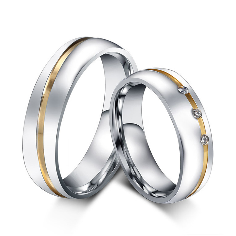 Wedding Ring for Women Men 316L Stainless Steel Love Ring AAA+ Cubic Zirconia Titanium Engagement Ring Wholesale