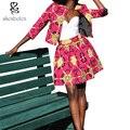 2016 осень Африканские платья для женщин координаты пальто + юбка мода 2 шт. костюм анкара одежда воск батик печати хлопка