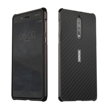 For Nokia 7 Case Aluminum Metal Frame+Carbon Fiber Hard Back Cover for Shockproof Phone 8