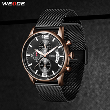 WEIDE Quartz Sports Casual Genuine Men Watch Top Brand Luxury Wristwatch Stainless Steel Auto Date Calendar Digital Clock Hour цена
