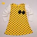 Nueva Primavera 2016 Super Fashion Ropa Para Niños Polka Dot Vestido de Niña de manga Larga Ropa de Los Niños Niñas Vestido de Princesa