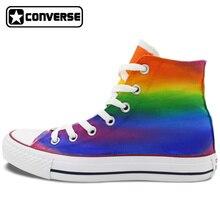Gradual Colorful Rainbow Converse Chuck Taylor Men Women Shoes High Top Hand Painted Shoes Man Woman Unique Colour Sneakers