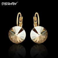 New 2014 Double Material 18k Gold Plated Platinum Plating Multicolor Circular Diamond Charm Drop Earrings E0001