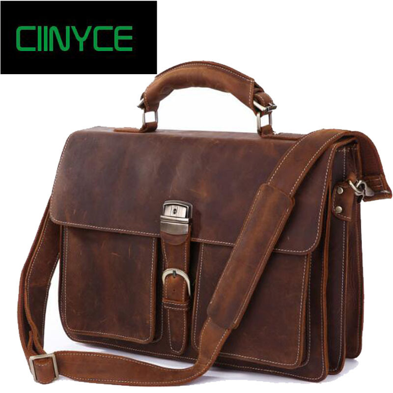 Vintage Pazzo Cavallino Degli Uomini del Cuoio Genuino Della Mucca Messenger Laptop Bag Crossbody Totes Borse D'affari Valigetta Borse