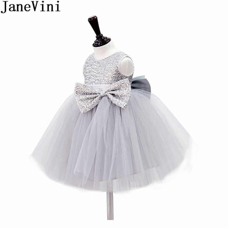 JaneVini Bling Silver Sequined Top Kids Prom   Dress   Gray Ball Gowns Big Bow   Flower     Girl     Dresses   Short Tulle Christmas Party Gowns