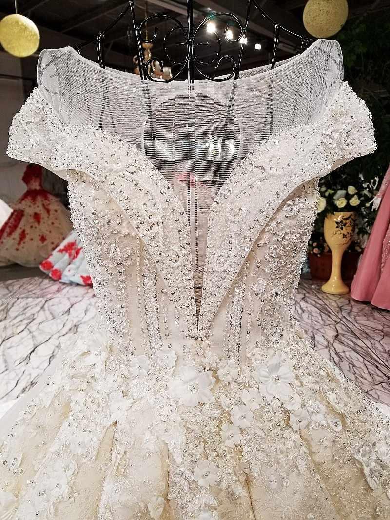 LS64130 роскошный бальное платье свадебное платье o шею с коротким рукавом зашнуруйте вверх тюль обратно свадебное свадебное платье 2018 с длинным поездом как фотографии