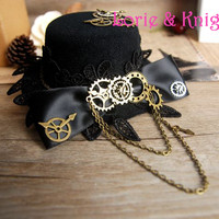 Steampunk Gear Bowknot Chain Mini Top Hat Lolita Cosplay Fedoras Hat BLACK RED BROWN