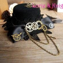 Steampunk Gear & Bowknot Chain Mini Top Hat Lolita Cosplay Fedoras Hat BLACK RED BROWN